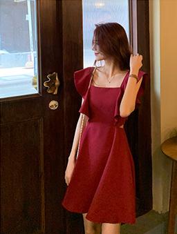 玫瑰少女荷葉收腰洋裝-紅