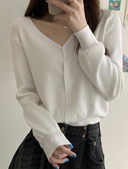 多色初秋V領開襟針織外套-白色