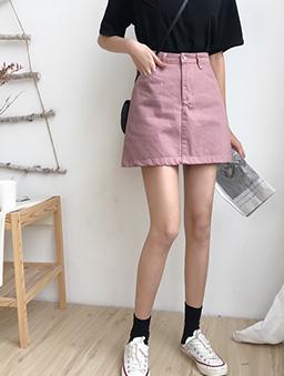 多色百搭斜紋休閒A字裙-粉色