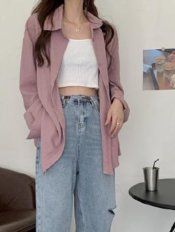 多色鹽系少女寬版襯衫上衣-藕色