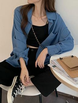 多色鹽系少女寬版襯衫上衣-藍