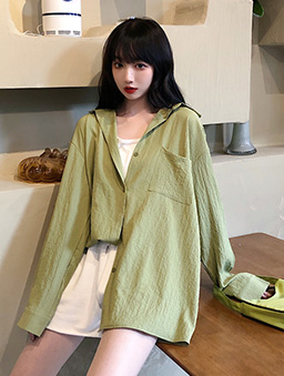多色鹽系少女寬版襯衫上衣-綠
