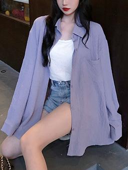 多色鹽系少女寬版襯衫上衣-淺紫