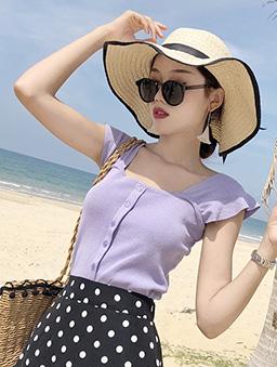 多色小荷葉肩帶針織背心-紫