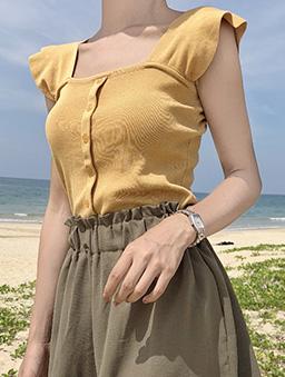多色小荷葉肩帶針織背心-黃