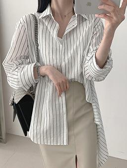 不對稱下擺條紋襯衫上衣-白色
