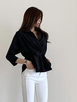 設計感立折收腰襯衫上衣-黑