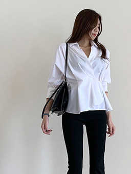 設計感立折收腰襯衫上衣-白色