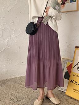多色層次感壓褶雪紡長裙-紫