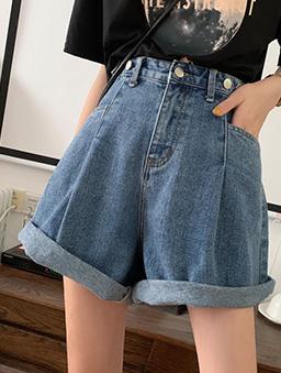多色高腰顯瘦寬口牛仔短褲-藍