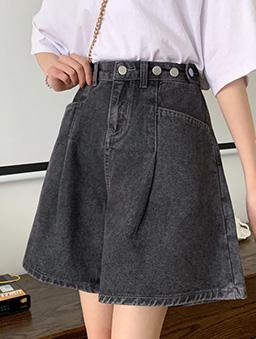 多色高腰顯瘦寬口牛仔短褲-黑灰