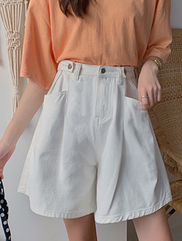 多色高腰顯瘦寬口牛仔短褲-白色