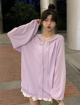 多色微透膚冰絲休閒連帽外套-紫