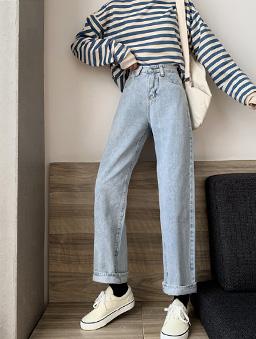刷白白淺色直筒牛仔褲-藍