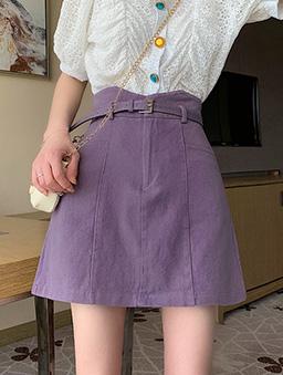 高腰剪裁百搭A字裙-紫