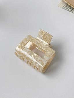 多色寶石光感方形抓夾-卡其