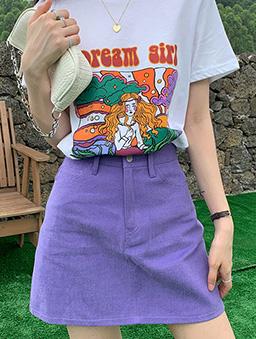 多色百搭A字短裙-葡萄紫