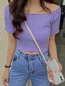 多色大寬領捲邊坑條短版上衣-紫
