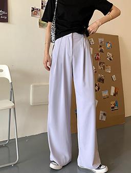 多色休閒直筒落地褲-香芋紫
