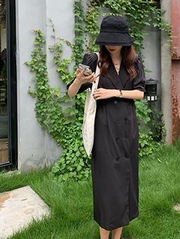 雙排釦西裝領長洋裝-黑