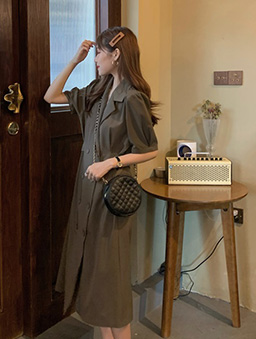 雙排釦西裝領長洋裝-咖啡