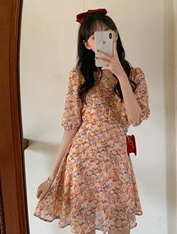甜美雪紡小碎花洋裝-粉紅