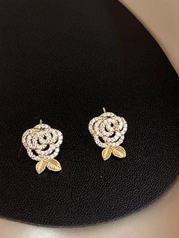 925銀針玫瑰少年耳環-金