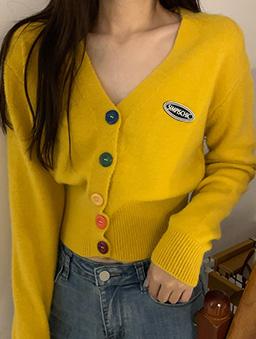 多色彩虹糖針織開襟外套/上衣-黃