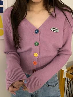 多色彩虹糖針織開襟外套/上衣-紫