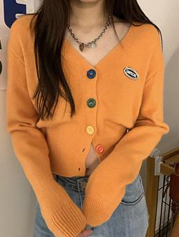 多色彩虹糖針織開襟外套/上衣-橘