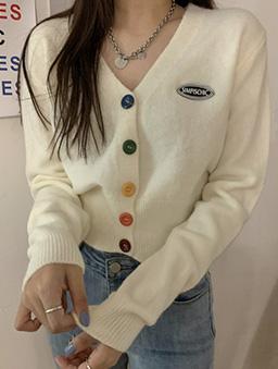 多色彩虹糖針織開襟外套/上衣-米白