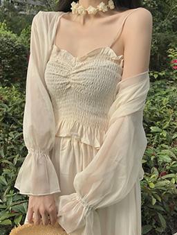 女神光荷葉袖薄紗外套-杏