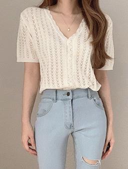 多色V領鉤花針織開襟上衣-白色