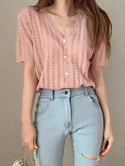 多色V領鉤花針織開襟上衣-粉色