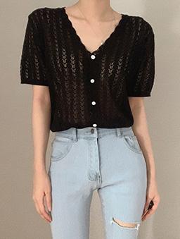 多色V領鉤花針織開襟上衣-黑