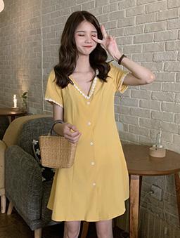 氣質V領小花邊雪紡洋裝-黃