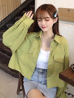 多色大口袋短版襯衫上衣/外套-綠
