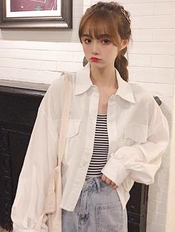 多色大口袋短版襯衫上衣/外套-白色