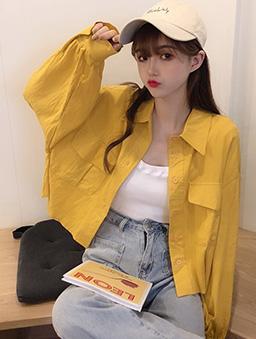 多色大口袋短版襯衫上衣/外套-黃