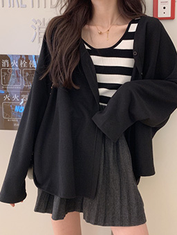 多色寬鬆版開襟外套-黑
