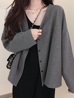 多色寬鬆版開襟外套-灰