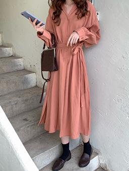多色半襟開衩襯衫洋裝-桃粉