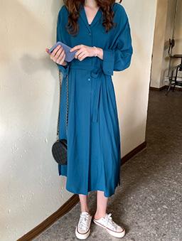 多色半襟開衩襯衫洋裝-土耳其藍
