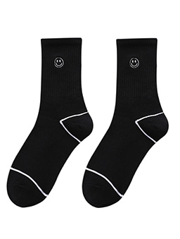 微笑符號中筒襪-黑