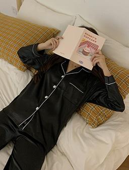 多色簡約絲光居家睡衣套裝-黑