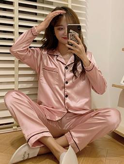 多色簡約絲光居家睡衣套裝-粉紅