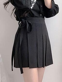多色高腰綁帶百褶裙-黑