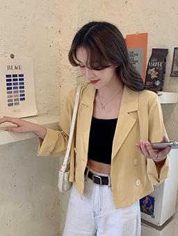 Chic短版休閒西裝外套-黃