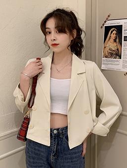 Chic短版休閒西裝外套-杏
