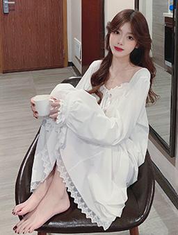 美好夢境蕾絲居家睡衣連衣裙-白色